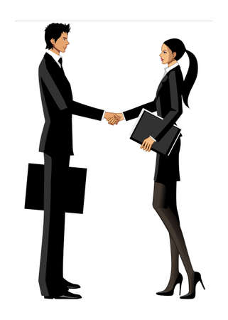 human settlement: Business man and woman shaking hands