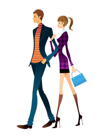 fashion boy: Young couple walking Illustration