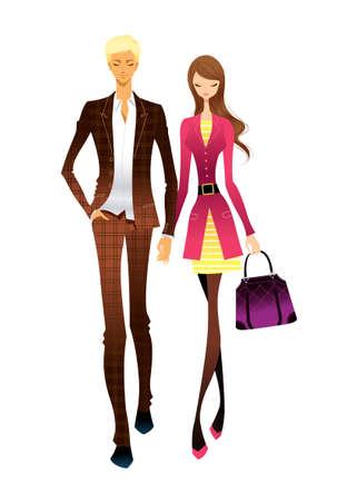 walking on hands: Portrait of couple walking together Illustration