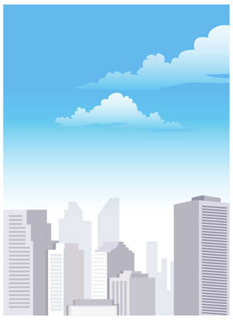 Several buildings standing under the blue sky. City Skyline  Stock Vector - 15880034
