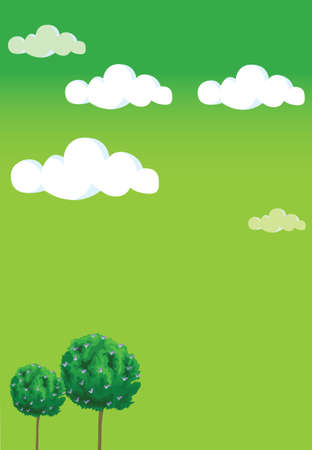 Several buildings standing under the blue sky. Green sky  Vector
