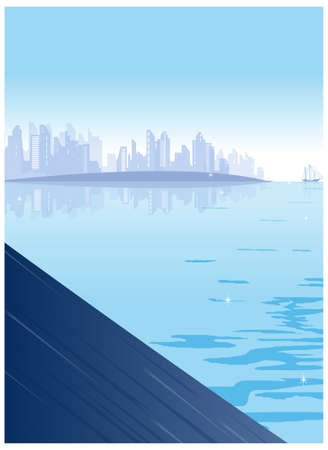 Buildings over looks the sea. City Skyline  Stock Vector - 15880407