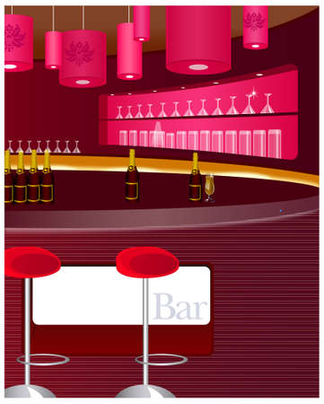 vertical bar: Wine and wine glasses are on display in the bar. View of bar counter