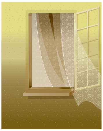 The curtain is flung to the wind. Open window against a white wall  Stock Vector - 15901652