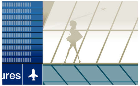 A woman walking in the airport. Silhouette of beauty girl in airport with baggage Stock Vector - 15879967