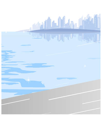 Buildings over looks the sea. City Skyline  Vector