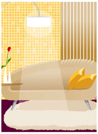 There are couches and lamps in the room. Couch and lamp, interior Vector