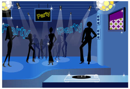 Many of people are dancing in this club. Dancing people in a disco  Vector