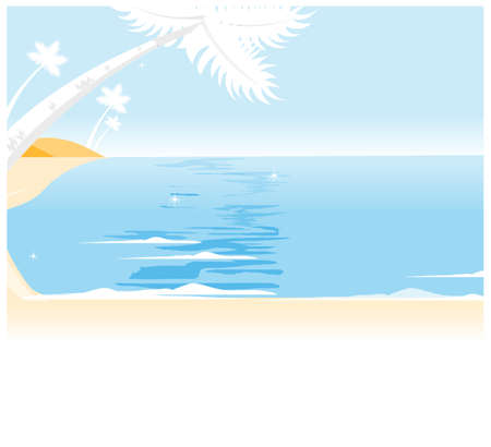 It seems some of the trees on the island. Coconut palm tree on tropical beach Stock Vector - 15880234