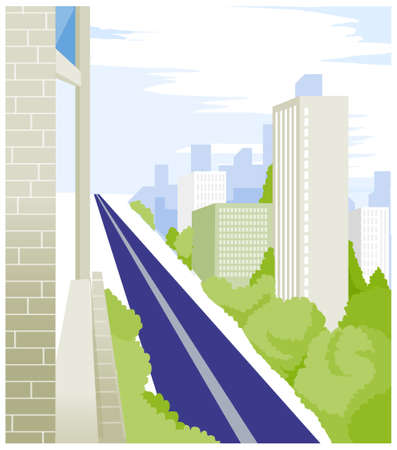 There is a straight road between the buildings. Straight Road and buildings  Stock Vector - 15880916