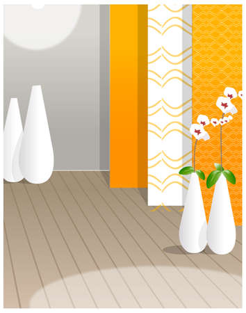 Four white vase placed in the room. Flower vase against the  wallpaper Vector