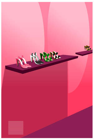 Shoes are displaying on the red shelves. Female footwear display Vector