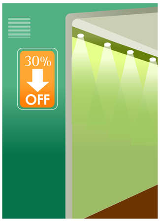 A sale poster on the wall is green. Sale Poster Vector