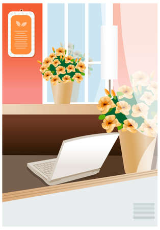 There are notebook and two of the pollen in the room. laptop on a table of director at modern office Stock Vector - 15881302