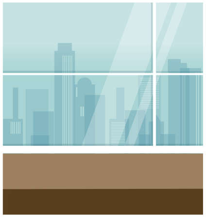 This illustration is a common cityscape. Interior of futuristic  Stock Vector - 15880136
