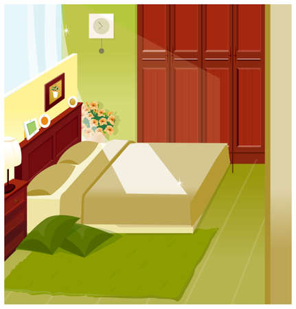 This illustration is a common cityscape. Bedroom Interior Vector