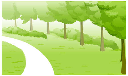 This illustration is a common natural landscape. Green Landscape and path Stock Vector - 15880914