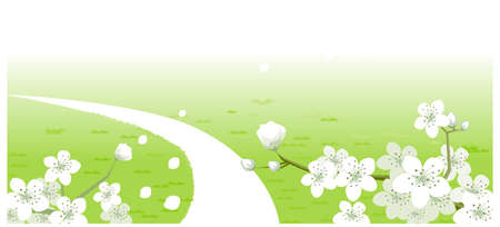 This illustration is a common natural landscape. Green Landscape with white Flowers Stock Vector - 15880217