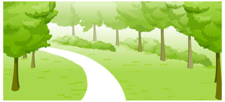This illustration is a common natural landscape. Green Landscape and path Stock Vector - 15880996