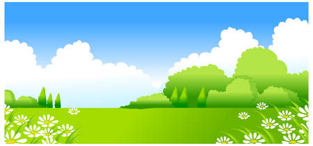 This illustration is a common natural landscape. Green Landscape with white Flowers Stock Vector - 15879790