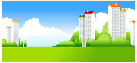 This illustration is a common natural landscape. Green Landscape with buildings Stock Vector - 15880044