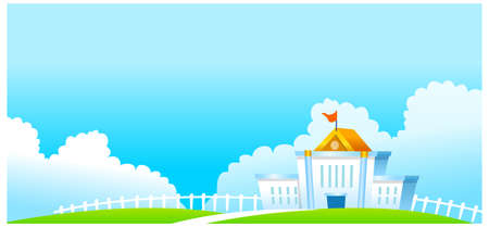 This illustration is a common natural landscape. Government Building Vector