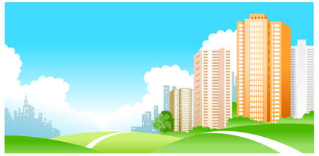 This illustration is a common natural landscape. city Stock Vector - 15879765