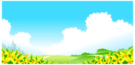 This illustration is a common natural landscape. flowers with green landscape Stock Vector - 15879734