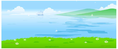 This illustration is a common natural landscape. Water landscape Stock Vector - 15879769