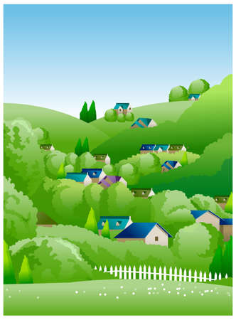 This illustration is a common natural landscape. country side illustration  Vector