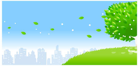 This illustration is a common natural landscape. city skyline with individual tree Stock Vector - 15879738