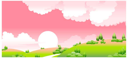 This illustration is a common natural landscape. idyllic sunset with green landscape Stock Vector - 15880988