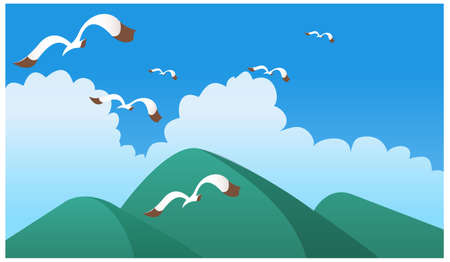 This illustration is a common natural landscape. Birds flying over green mountain Stock Vector - 15879687