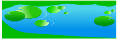 This illustration is a common natural landscape. Pond with lilies leaf Stock Vector - 15880138