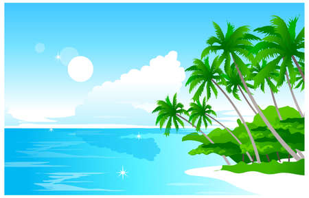 This illustration is a common natural landscape. Beach Vector