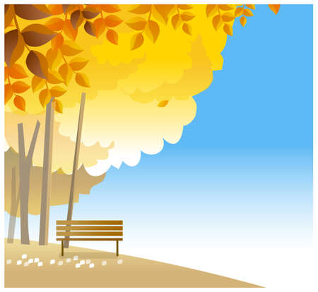 This illustration is a common natural landscape. wooden bench on hilltop Stock Vector - 15880036