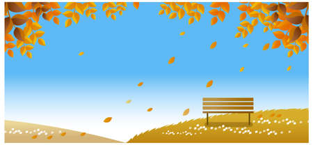 This illustration is a common natural landscape. lonely bench on autumn path  Vector