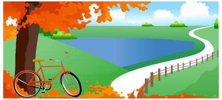 sotto l albero: Questa illustrazione � un paesaggio naturale comune. Biciclette sotto l'albero Vettoriali