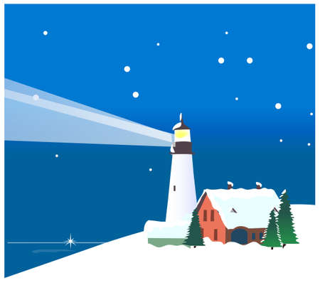 this illustration is the general nature of the winter landscape. Winter mountains and lighthouse Vector
