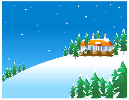 this illustration is the general nature of the winter landscape. Snowy winter scene in the countryside, with old-fashioned house Vector