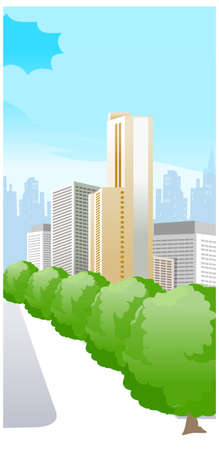 This illustration is a common cityscape. city with trees Stock Vector - 15880082