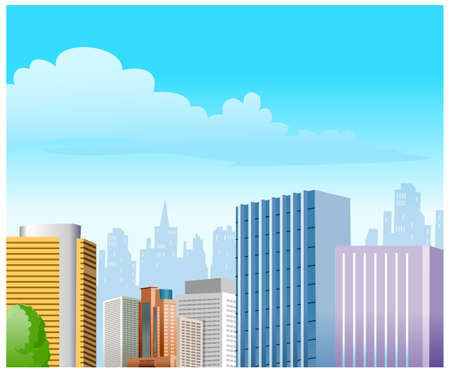 This illustration is a common cityscape. City Skyline  Stock Vector - 15879955
