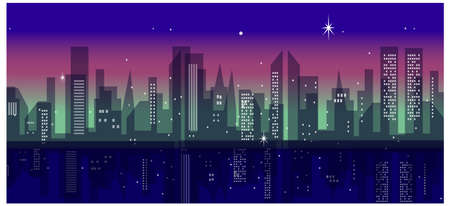 This illustration is a common cityscape. City Skyline at night Vector