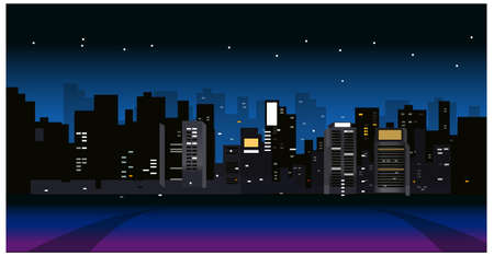 This illustration is a common cityscape. City Skyline at night Stock Vector - 15879733