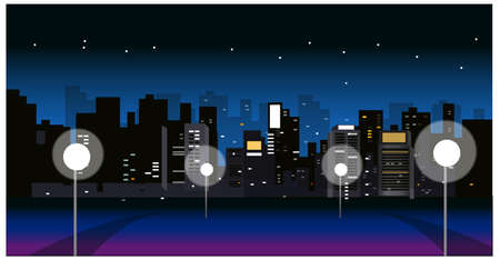 This illustration is a common cityscape. City Skyline with street light at night Vector