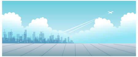 This illustration is a common cityscape. Cityskyline with Plane departing  Vector