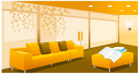 modern living room design: this illustration is the interior landscape. Living room interior Illustration