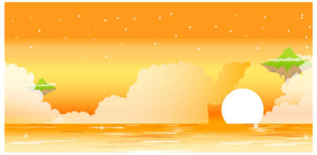 This illustration is a common natural landscape. Sunset and ocean  Stock Vector - 15880039
