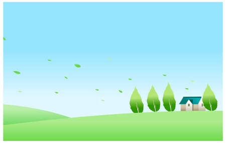 This illustration is a common natural landscape. House and green landscape Stock Vector - 15879688