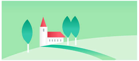 This illustration is a common natural landscape. House and green landscape Stock Vector - 15879615